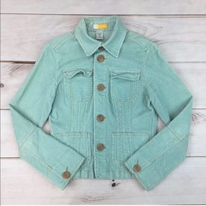 Tulle Corduroy Stretchy Crop Button Up Jacket